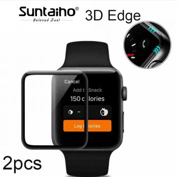 [2-Pack] 3D Full Cover Edge Touch point glass film For i Watch 42mm/ 38 mm Protector Film for Apple Watch Series 1/2/3