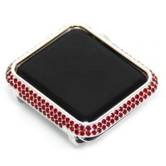 Red rhinestone crystal apple watch bezel case bright silver