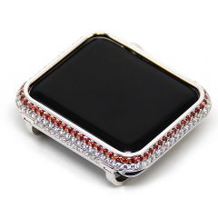 Diamond  rhinestone in white with apple watch series1,2,3 silver bzezel case cover