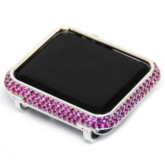 Rose red rhinestone crystal apple watch bezel case silver