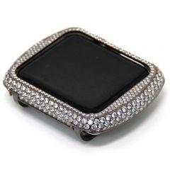 Apple watch sparking rhinestones gun black alloy watch case