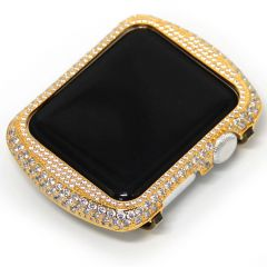 Gold glittering diamond metal apple watch circle watch case