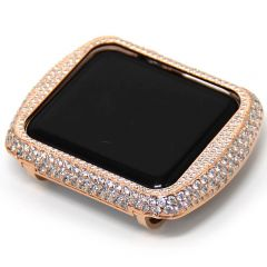 Rose gold shiny crystal rhinestones alloy apple watch case
