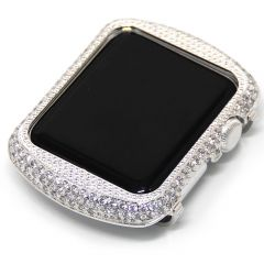 Crystal diamonds bright silver alloy case for apple watch