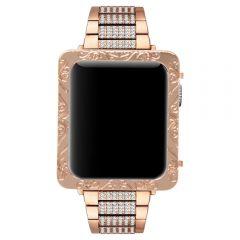 Apple watch rose gold deep engraved petals series 1 case