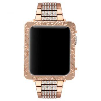Apple watch rose gold deep engraved petals flower 1 case