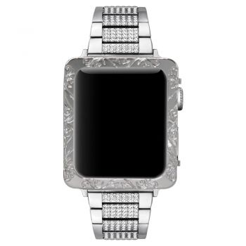 Silver CNC engraved flower 1 Apple watch case cover