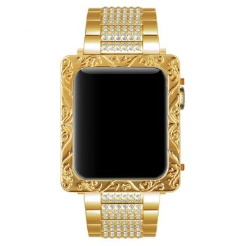 Gold deep carving petals series 1 watch case for apple watch