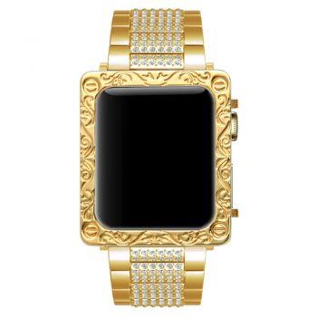 Apple watch gold deep carving petals flower 2 square case