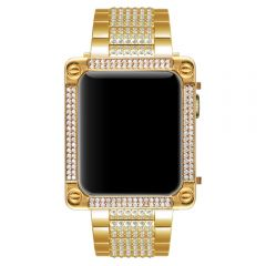 Apple watch gold diamonds square metal case with engraving