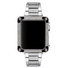 Apple watch starlight silver diamond alloy 3D bezel case