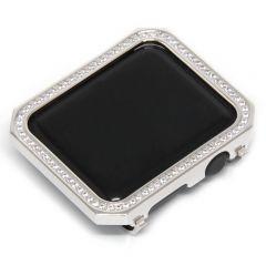 Square silver white crystal diamond metal plating bezel case