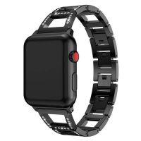 Apple wacth bracelet styled diamond black metal band