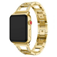 Chain type styled diamond gold metal band for apple wacth