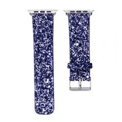 Bling flash strap blue leather glitter band for apple watch editions
