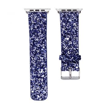Flash bling strap blue leather glitter band for apple watch