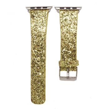 Bling strap gold leather glitter band for apple watch series