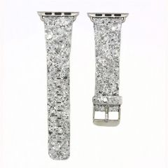 Bling flash strap grey leather glitter band for apple watch editions