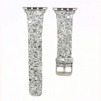Apple Watch bling flash band grey leather glitter strap