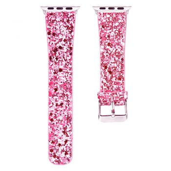 Bling flash strap pink leather glitter band for apple watch