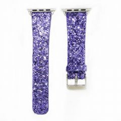 Bling flash strap purple leather glitter band for apple watch editions
