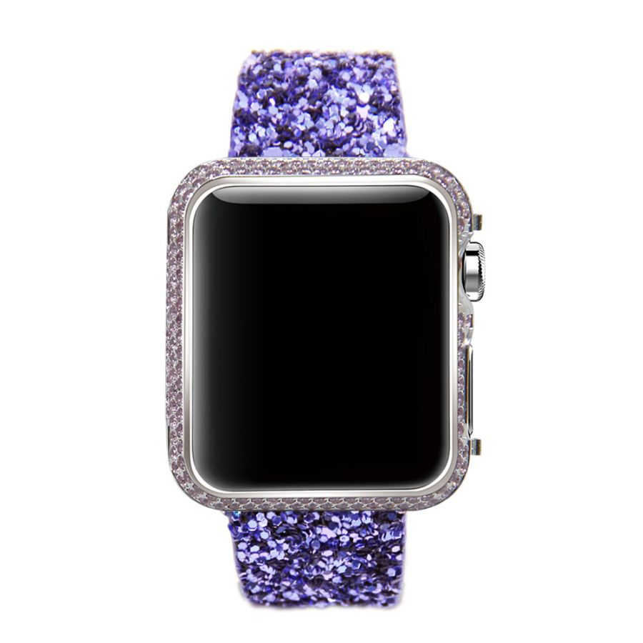 For Apple Watch band purple leather glitter wrist Strap