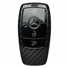 Luxury Carbon Fiber Key Case Cover For Mercedes Benz E-Class E300L E200L Smart Key Fob