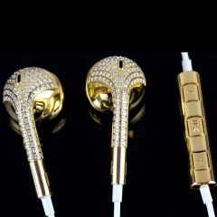 Fashion 24k gold Bling Crystal Diamond Headphones Earphone In-ear Headset for Apple iPhone Android Smartphones