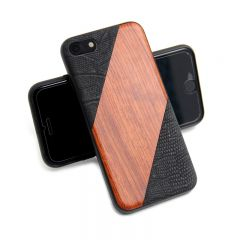 Wood Pattern Leather Back Protective Shell Cover Case For iPhone 7