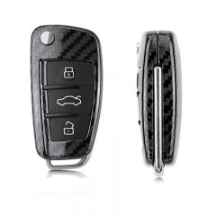 Carbon Fiber Remote Keyless Fob Cover Case Shell For Audi