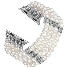 Handmade bracelet watch strap for Apple watch seres 1 2 3 white