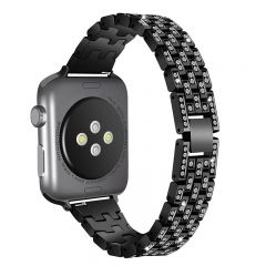 Stainless Steel Metal diamond Wristband For Apple watch black