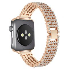 Luxury Replace Bling Stainless Steel Watch Band For Apple watch rose