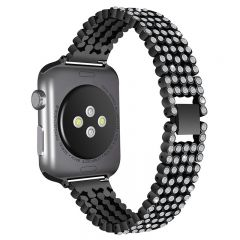 Luxury Replace Bling Stainless Steel Watch Band For Apple watch black