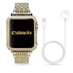 Crystal bezel handcraft encrusted cover case for Apple watch platinum