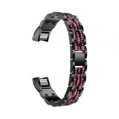Metal Adjustable diamond Strap Bracelet for Fitbit Alta black