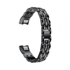 Metal Adjustable diamond Strap Bracelet for Fitbit Alta black