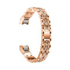 Metal Adjustable diamond Strap Bracelet for Fitbit Alta rose