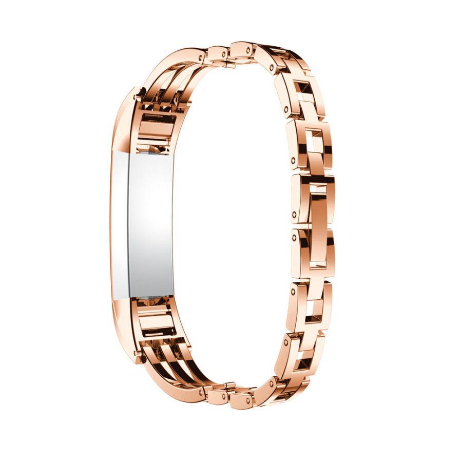 Metal Watch Bracelet White Diamond Band For Fitbit Alta Rose