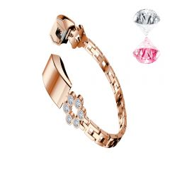 Bling diamond flower thin shiny band for Fitbit alta rose gold