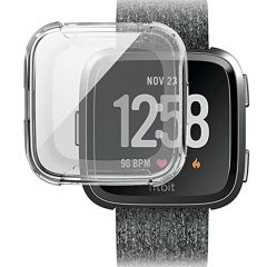 Soft protective cover case for Fitbit versa watch silver