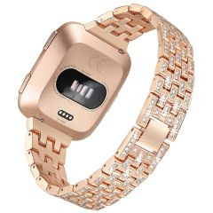 Full diamond cover watch band for Fitbit versa rose gold