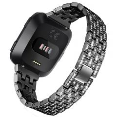 Full diamond cover watch band for Fitbit versa black