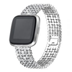 Luxury Replace Bling Stainless Steel Watch Band For Fitbit versa platinum