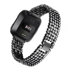 Luxury Replace Bling Stainless Steel Watch Band For Fitbit versa black
