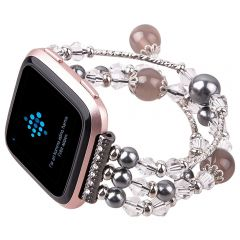 Hot Sale Agate Beads Watchband for Fitbit versa black