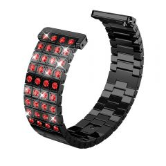 Metal Adjustable red diamond Strap Bracelet for Fitbit versa black