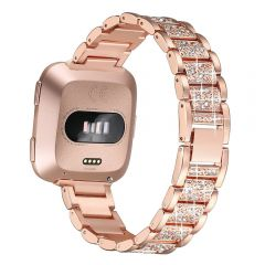 Bling Crystal Metal wrist band for Fitbit versa women style rose
