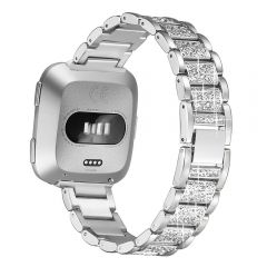 Bling Crystal Metal wrist band for Fitbit versa women style silver