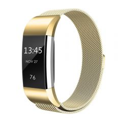 Metal Replacement Bracelet Strap with Unique Magnet Lock for Fitbit charge 2 gold